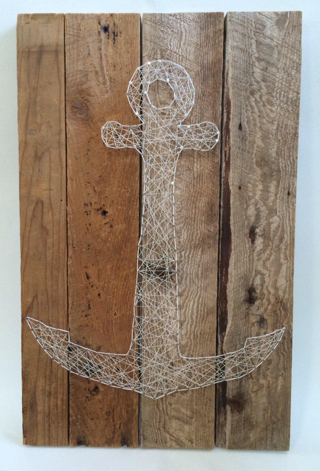 Large reclaimed wooden string art anchor. A unique nautical gift for Father's or Mother's Day, Birthdays, Weddings, Anniversaries, House warming and Christmas.