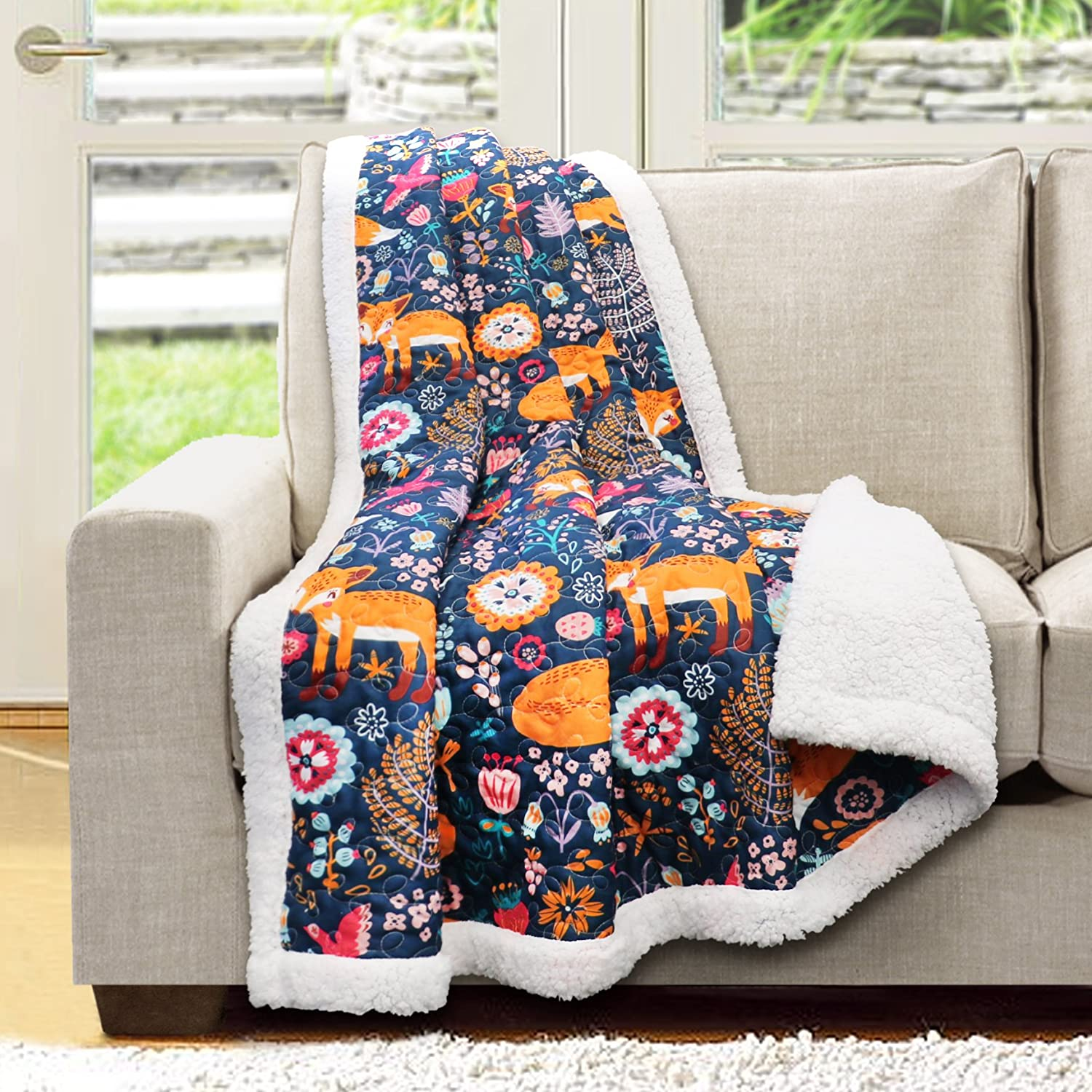 "Lush Decor 16T000553 Pixie Fox Sherpa Throw, 60"" x 50"", Navy"