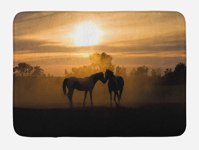 "Lunarable Horse Bath Mat, Silhouette Stallions in Love Farmhouse Landscape Romantic Sunset Forest, Plush Bathroom Decor Mat with Non Slip Backing, 29.5"" X 17.5"", Brown Peach"