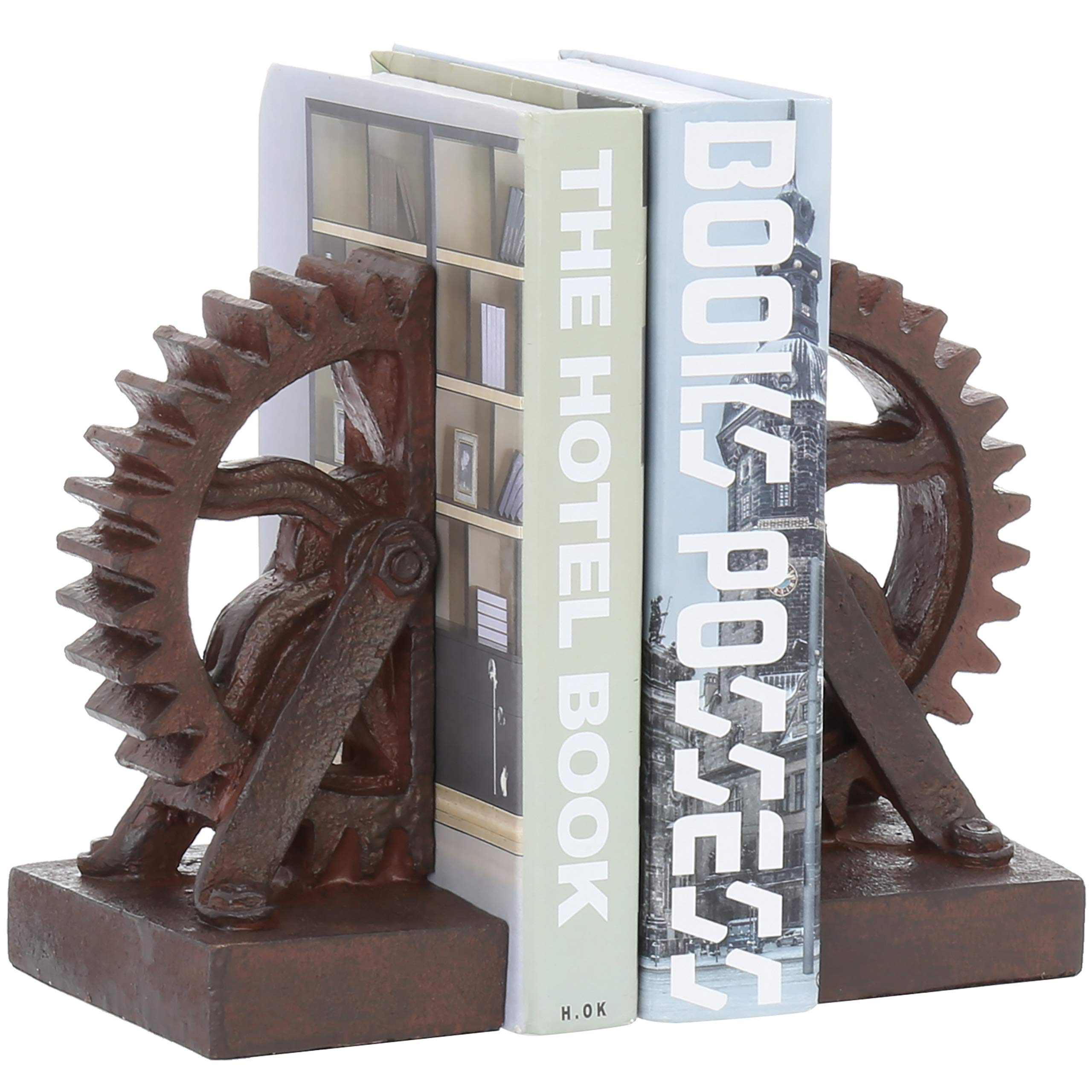 MyGift Realistic Industrial Gear-Shaped Bronze-Tone Bookends, 1 Pair by MyGift