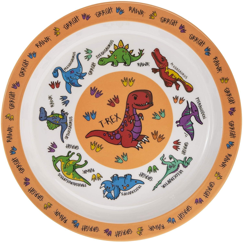 Orange Dinosaurier Melamin Kunststoff Kinder die Abendessen Teller 21/cm