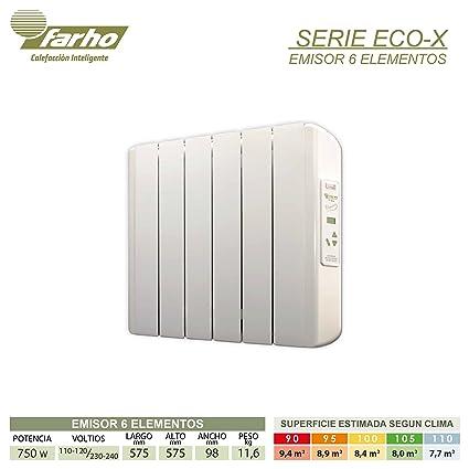farho Eco X - Radiador Eléctrico de bajo Consumo 750 W Digital Programable - Emisor Térmico Ideal para estancias hasta 8,50 m2-20 AÑOS DE Garantia: ...