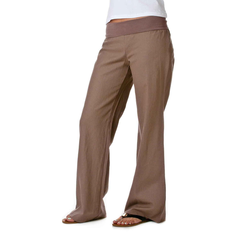 Love Tree Womens Fold-Over Waist Linen Pants at Amazon Women's ...