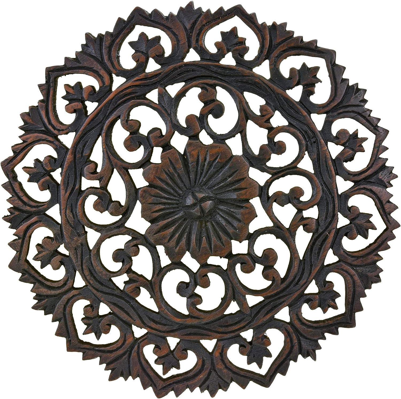AeraVida Grand Flower Bouquet Hand Carved Teak Wood Wall Art