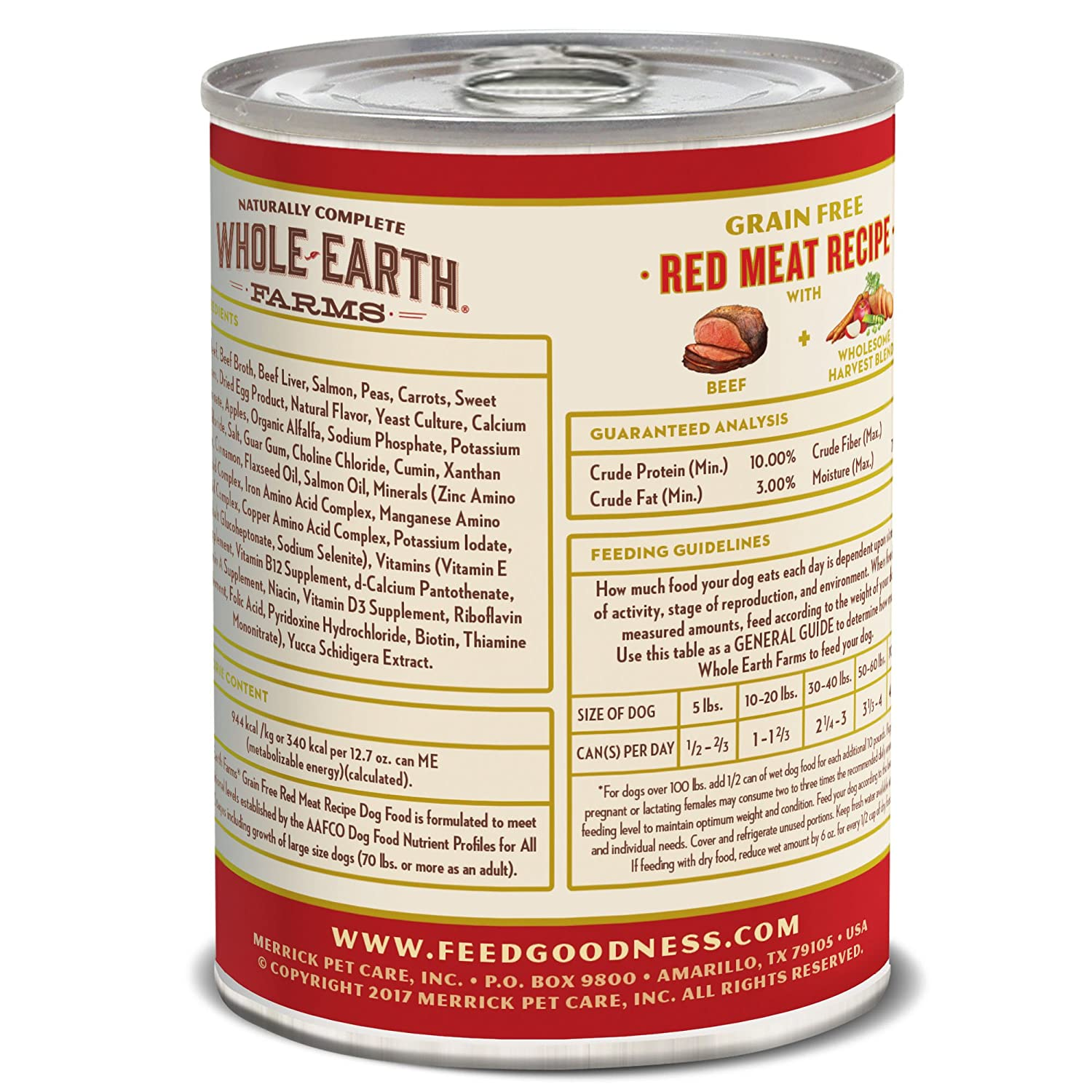 Whole Earth Farms Grain Free Canned Dog Food, 12.7 oz, 12 count