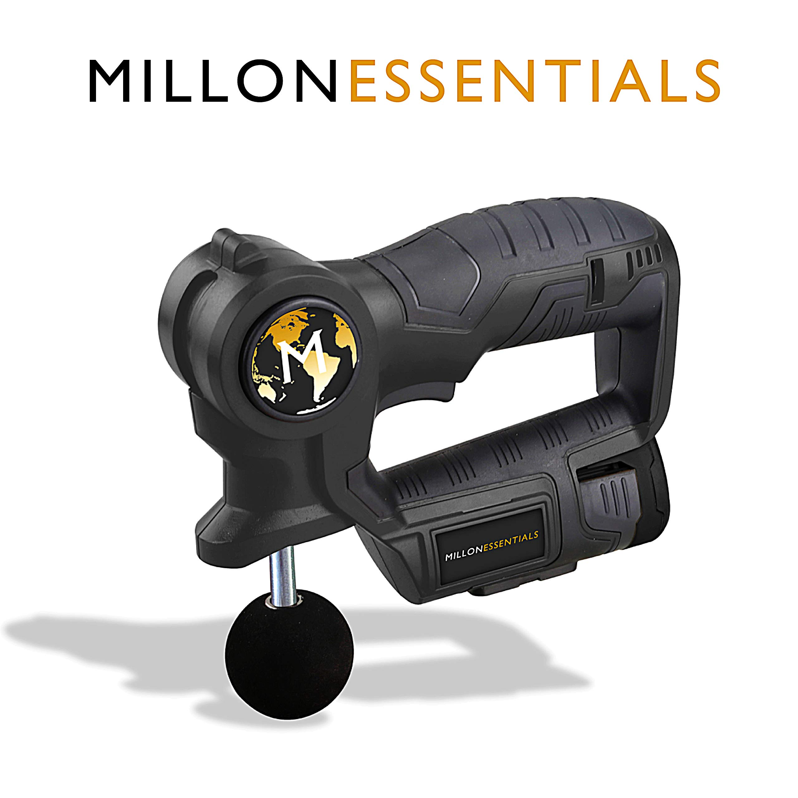 MillonEssentials Muscle Recovery Massage Gun - #1 Powerful Handheld Percussion Massager - Portable Deep Tissue Device – Cordless & Rechargeable Pain Relief Machine – Personal Body Stimulation Therapy