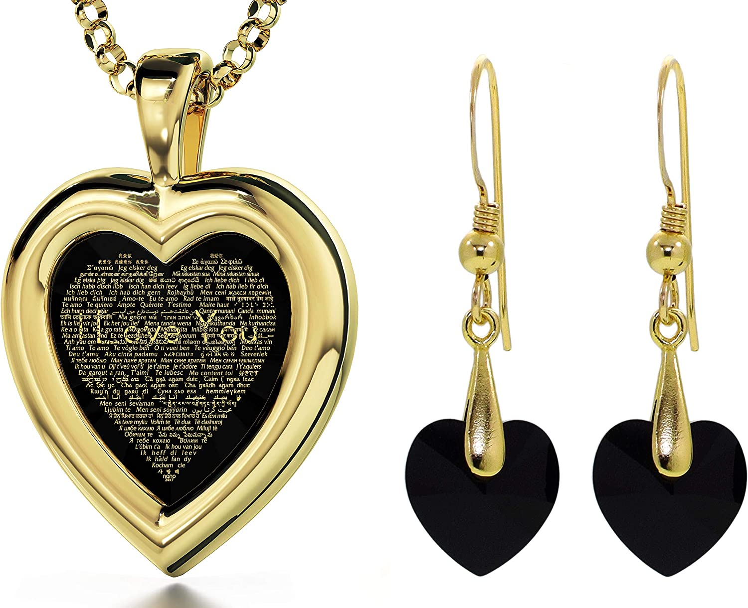 Glass heart shaped pendant filled with 24kt  gold leaf $ $ $!
