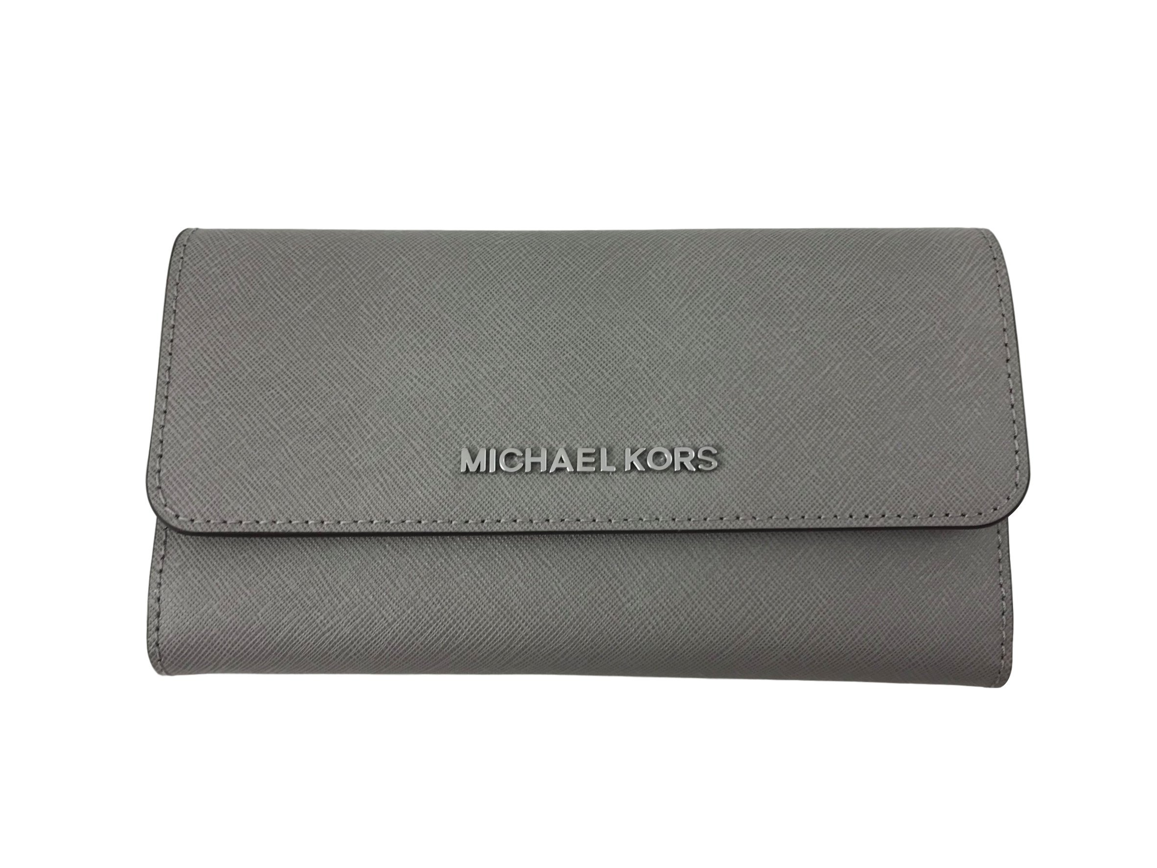Michael Kors Jet Set Travel Large Trifold Leather Wallet (Pearl Grey) by Michael Kors