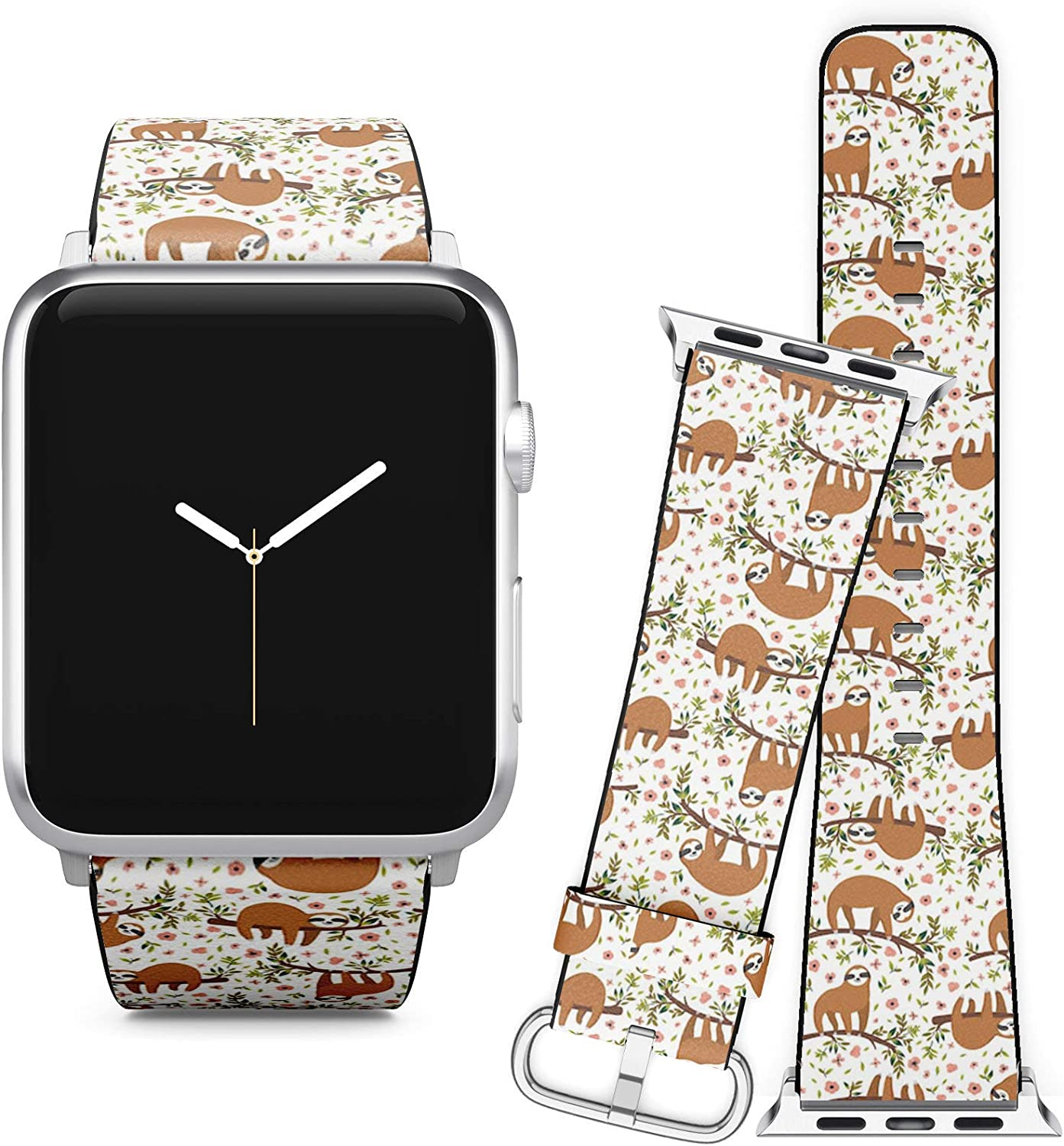 Compatible with Apple Watch (42/44 mm) Series 5, 4 3, 2, 1 // Leather Replacement Bracelet Strap Wristband + Adapters // Cute Sloth On Tree