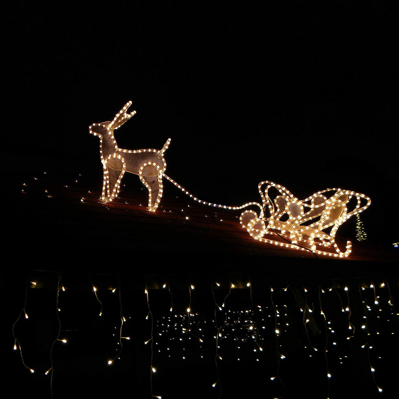 480 LED 12m Tenda luminosa a cascata Luci Natale bianco caldo ...