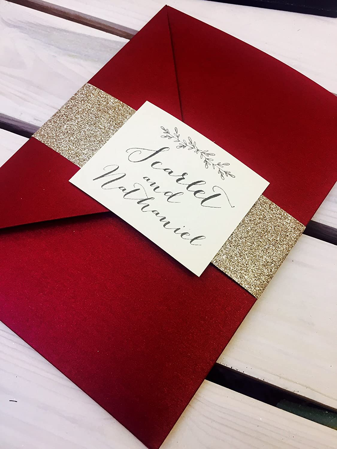 1 \'Scarlet-Red\' pocket wedding invitation sample with two insert ...