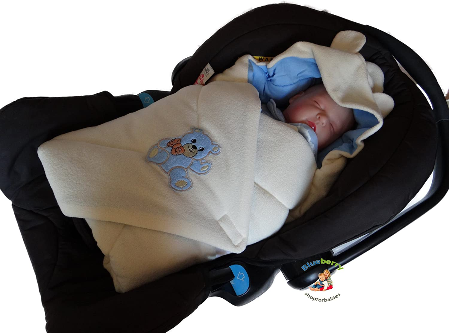 Amazon BlueberryShop Hooded Thermo Terry For CAR SEAT Swaddle Wrap Blanket Sleeping Bag Newborn Baby Shower GIFT 0 3m 78 X Cm