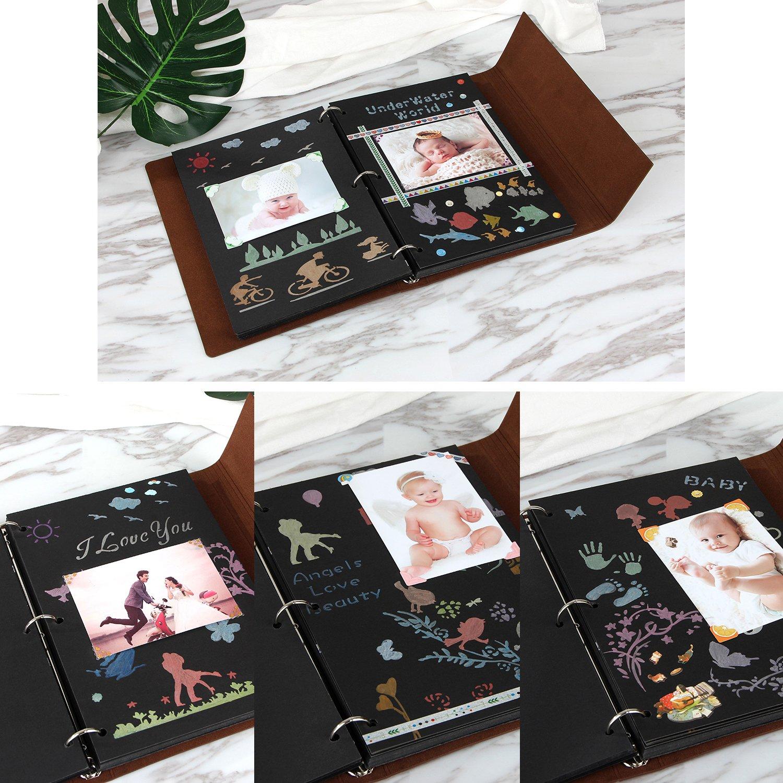 YAOHU Scrapbook Álbum Fotos autoadhesivo de cuero Vintage DIY Libro ...
