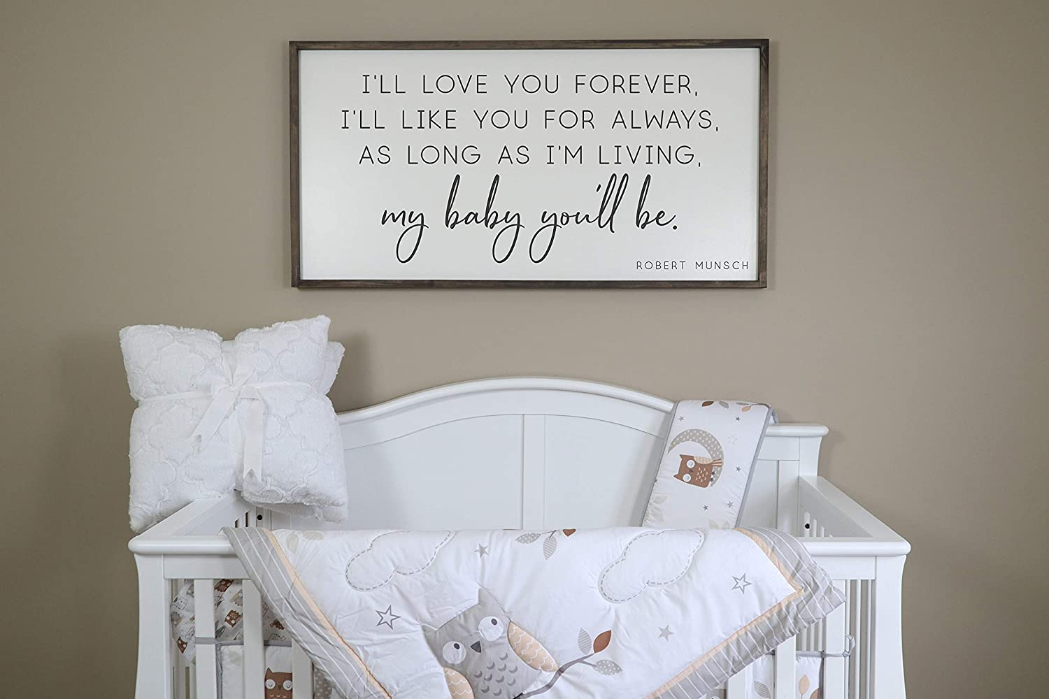 Flowershave357 Ill Love You Forever Ill Like You for Always Sign My Baby Youll Be Framed Wood Sign Nursery Decor Nursery Sign Farmhouse Sign