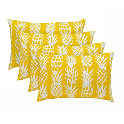 "RSH Décor Set of 4 Decorative Indoor Outdoor Throw Toss Pillows Choose Size and Fabric Color, Great for Porch, Patio, Deck and Home Decor (20""x12"", Sunshine Tropical Pineapple): Home & Kitchen"
