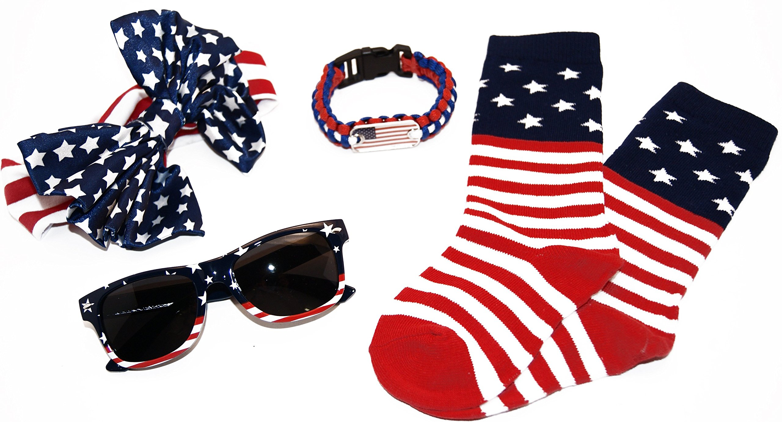 Little Miss USA II Accessory Kit for Girls 2 to 6 Socks/Sunglasses/Large Bow Band