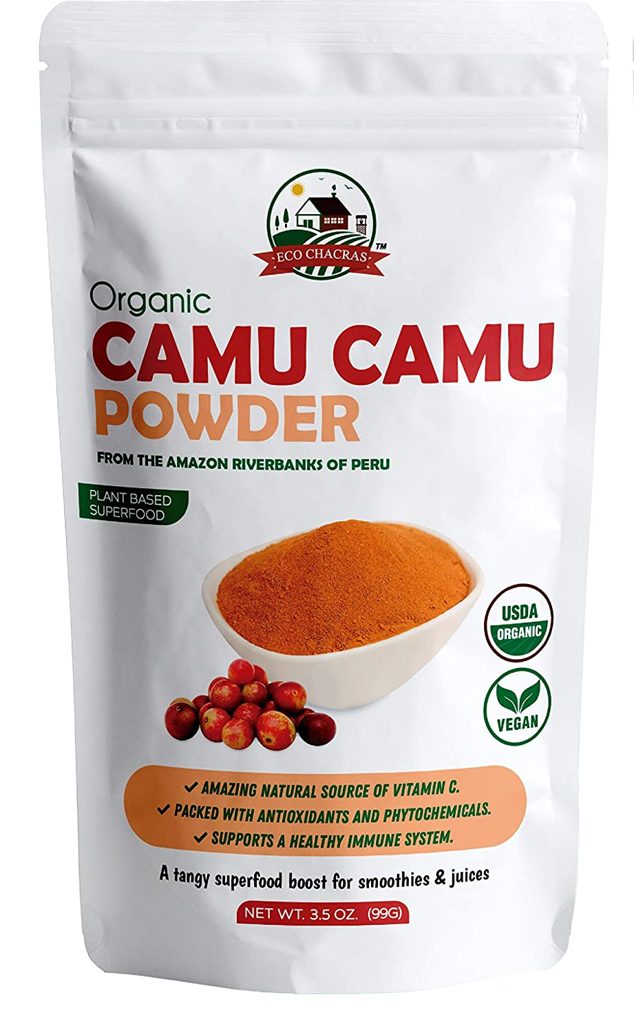 Amazon Com Camu Camu Powder Usda Certified Organic From Peru Natural Vitamin C Supplement Powder Supports Energy And Immune System 3 5 Oz Bag Grocery Gourmet Food