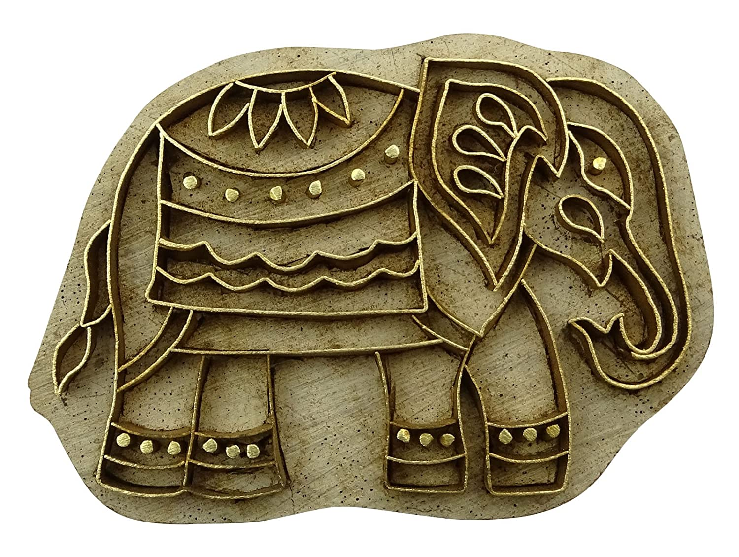 Brass Carved Wood Textile Decorative Elephant Pattern Print Wooden Stamp Blocks Indianbeautifulart