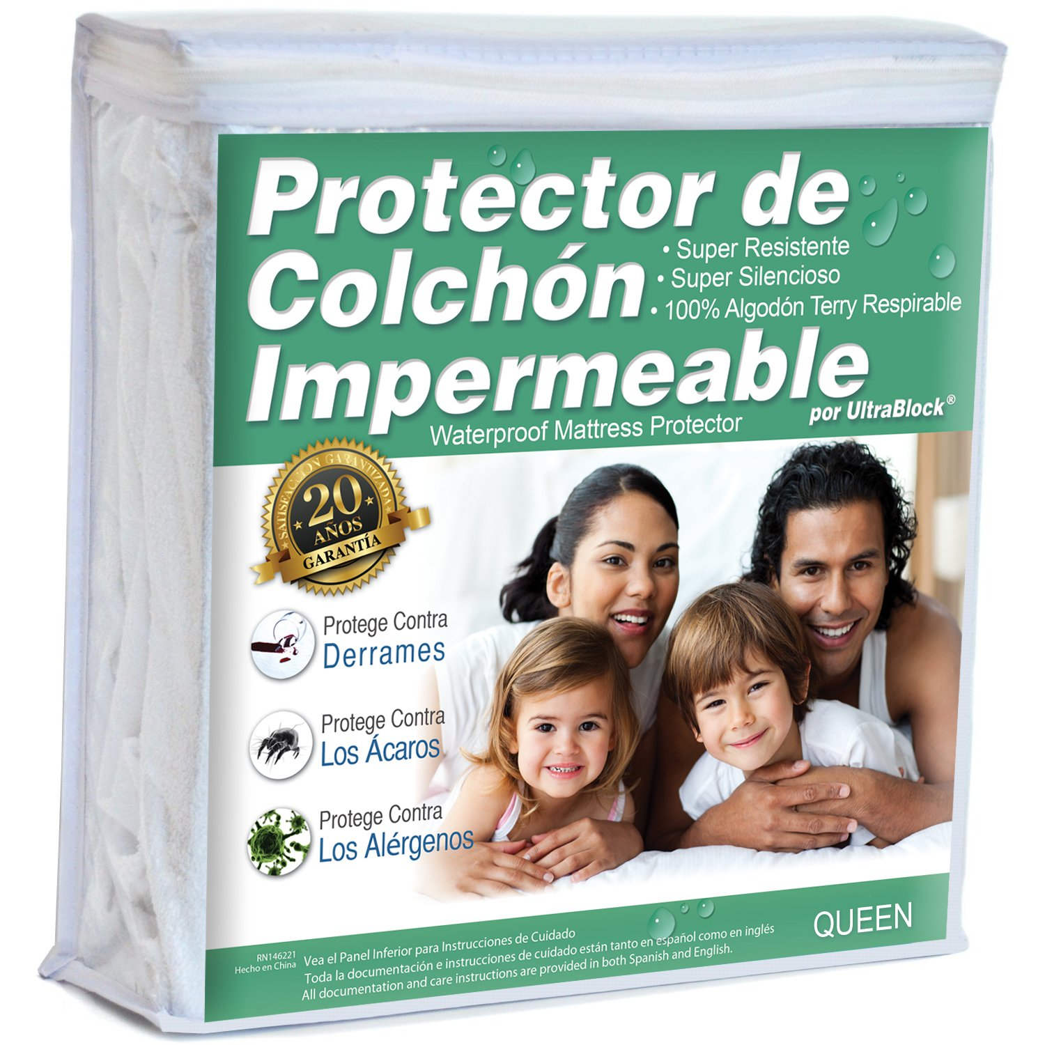 Amazon.com: UltraBlock Protector de colchón impermeable Queen - Funda de Terry de algodón Suave Premium: Home & Kitchen