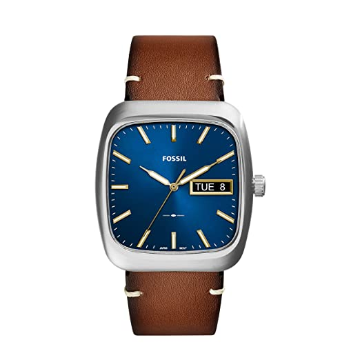 Rutherford Three-Hand Day-Date Light Brown Leather Watch