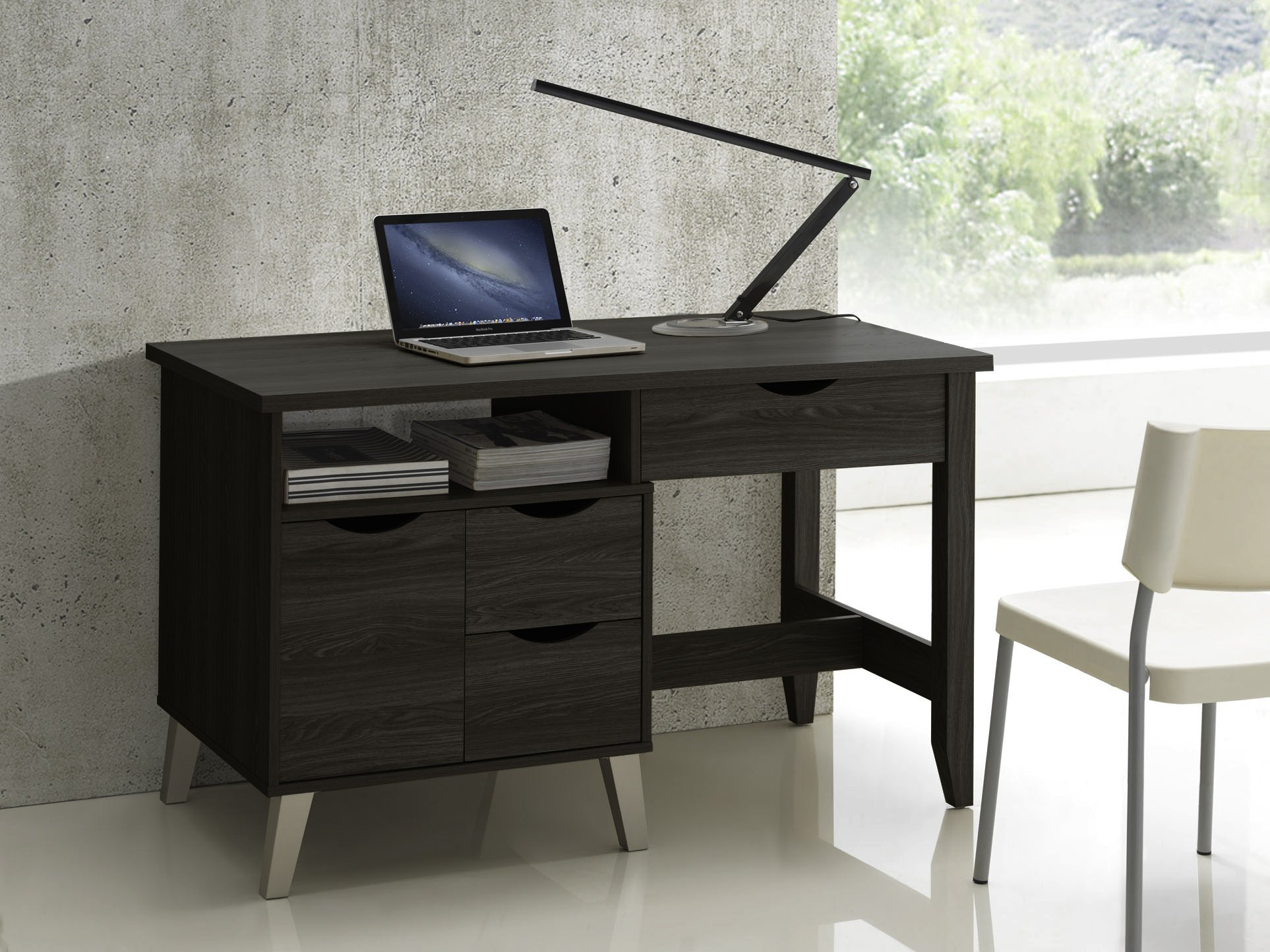 Baxton Studio McKenzie Modern Contemporary Wood 3-Drawer Home Office Study Desk with Two Open Shelves & Two Shelves with Wood Door, Dark Brown