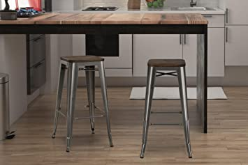 Admirable Dhp Fusion Metal Backless 30 Bar Stool With Wood Seat Distressed Metal Finish For Industrial Appeal Set Of Two Antique Gun Metal Creativecarmelina Interior Chair Design Creativecarmelinacom