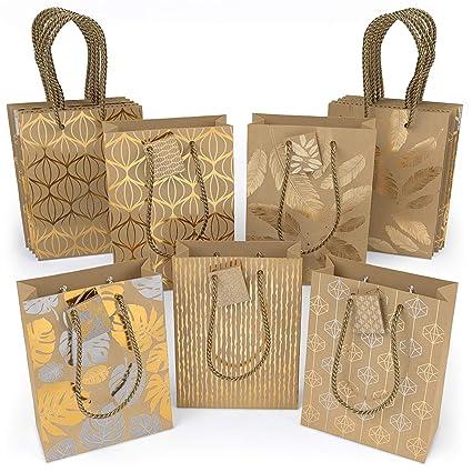 ARTEZA Bolsas de regalo | 24 x 17.8 x 8.6 cm | 15 bolsas surtidas | 5 diseños originales de láminas metálicas | 3 bolsas de cada diseño | Papel kraft ...