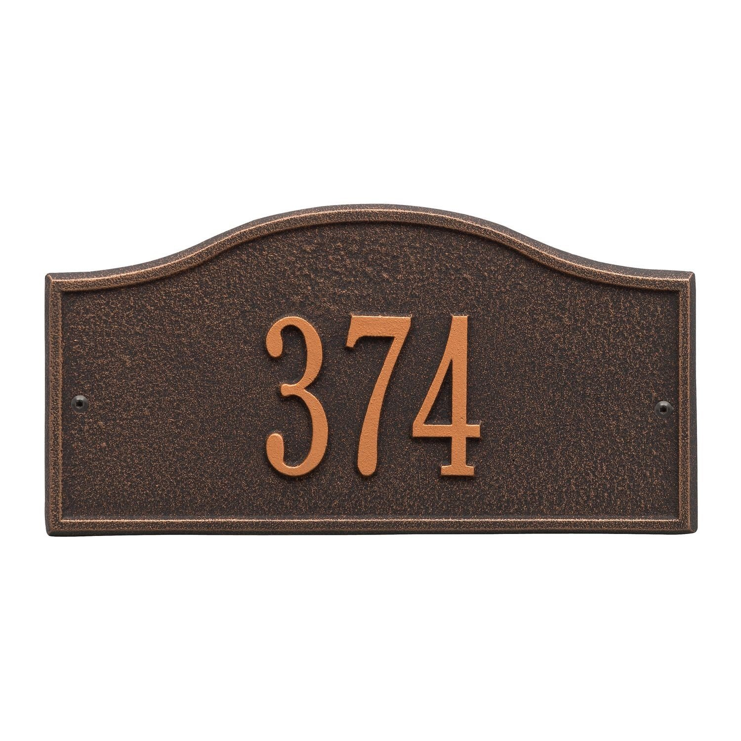 Whitehall Personalized Cast Metal Address Plaque - Small Rolling Hills Custom House Number Sign - 12'' x 6'' - Allows Special Characters - Bronze