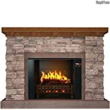MOST REALISTIC Electric Fireplace on Amazon! 21 Flames Sampled From REAL Fires w/ Sound! Includes Stacked Stone w/ Oak Wall Mantel, Touch-Screen, Bluetooth App, & Heater.