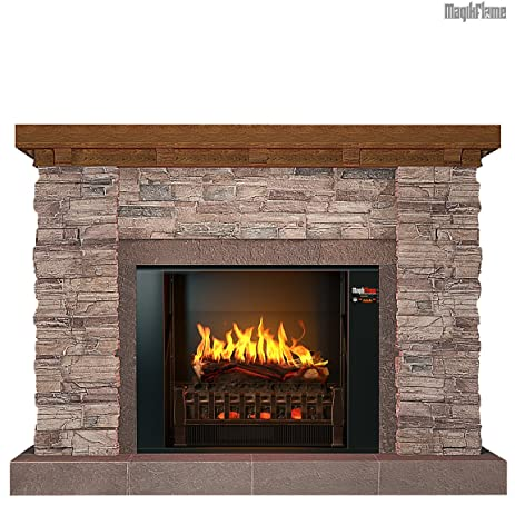 Amazon.com: MOST REALISTIC Electric Fireplace on Amazon! 21 Flames Sampled From REAL Fires w/ Sound! Includes Decorative Antique Ivory Wall Mantel