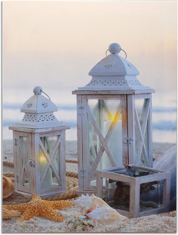 Beach Decor Seaside Print with Lanterns - LED Canvas Print with White Lantern Set on the Sandy Seashore - Seashells and Starfish - Ocean Sea Coast Wall Hanging