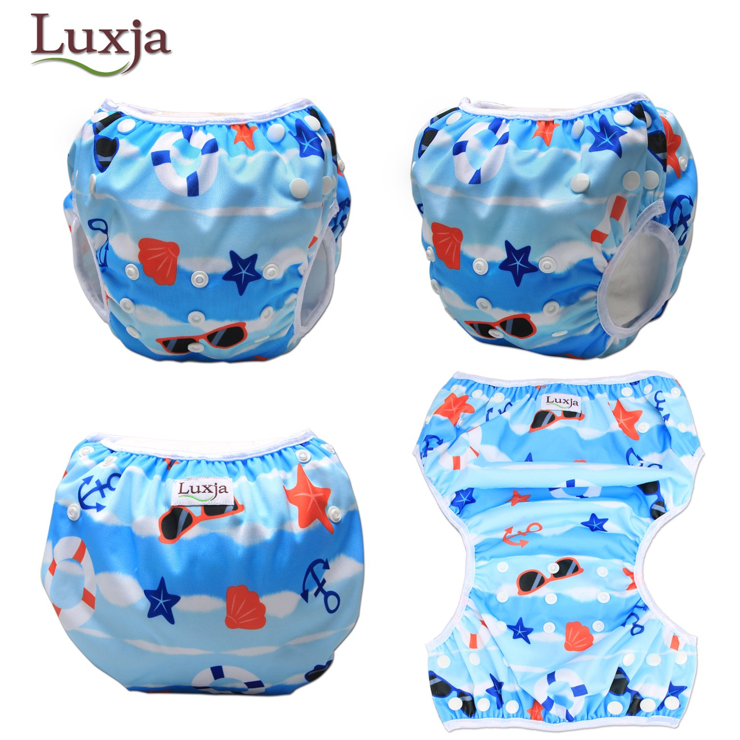 0-3 Years LUXJA Reusable Swim Diaper Adjustable Swimming Diaper for Baby Pack of 2 Shell + Blue Fish