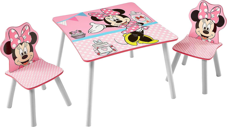 Minnie Mouse Conjunto de Mesa y Dos sillas, Madera, Rosa, 63.00x63.00x45.00 cm
