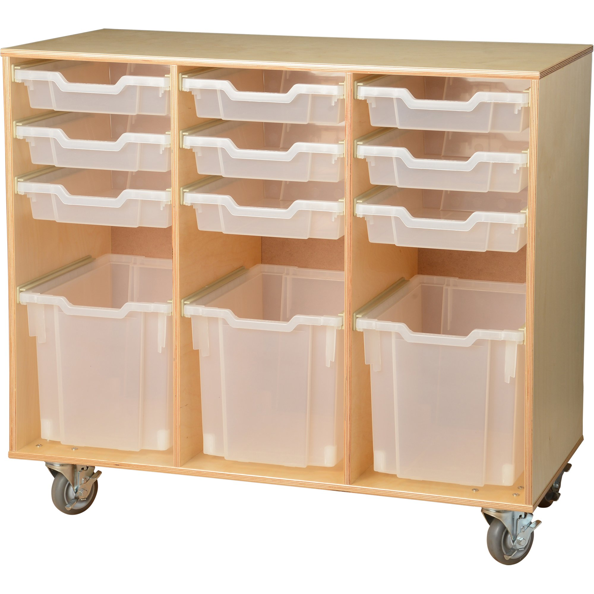 Constructive Playthings WB-903 Creative Arts Birch Cart with Write and Wipe Board On the Back, Grade: kindergarten to 6, Brown