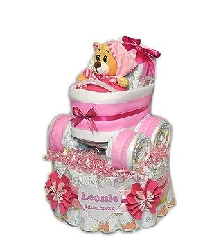 Pañales para tartas con cochecito + Oso BabyRosa # 1: Amazon.es: Salud y cuidado personal