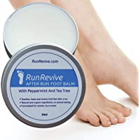 RunRevive After Run Foot Balm Soothe Tired Feet After Sport Or Exercise 100% Natural. Prevent Athlete's Foot. Heals Blisters Dry Cracked Skin. Anti Fungal/Bacterial. Organic Peppermint Tea Tree 60ml