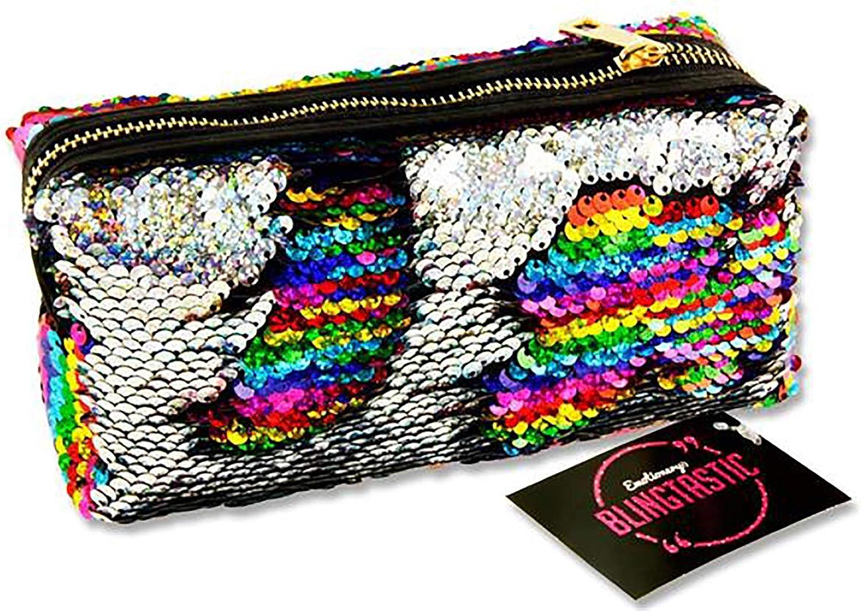 Premier Stationery G3818304 Emotionery Blingtastic - Estuche reversible con lentejuelas en dos tonos, color plateado y arcoíris: Amazon.es: Oficina y papelería