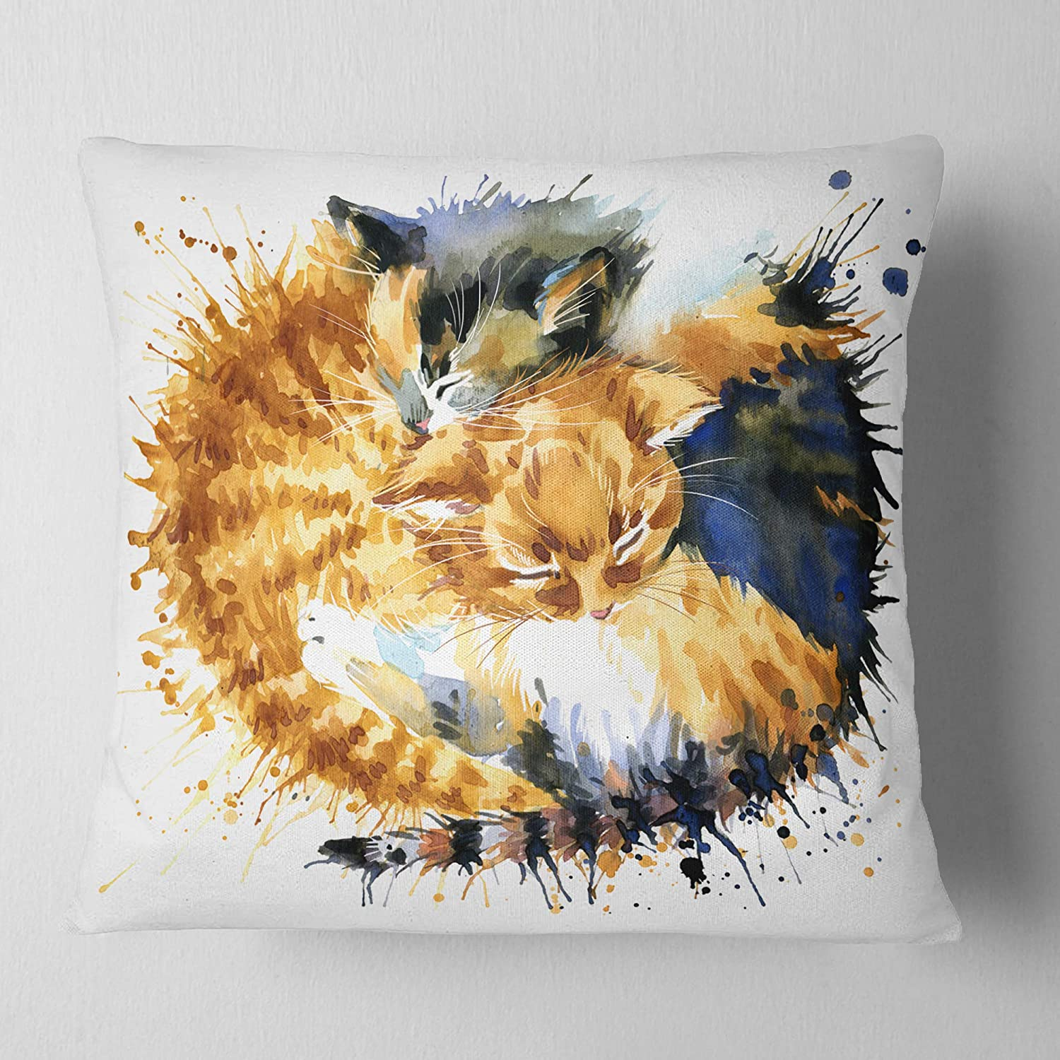 Designart CU13357-26-26 Cute Kitten Graphical Illustration Animal Cushion Cover for Living Room Insert Printed On Both Side x 26 in Sofa Throw Pillow 26 in in