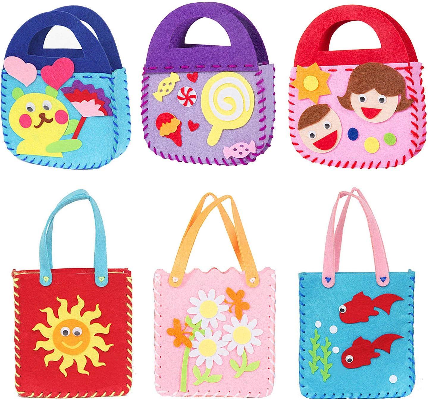 Joeyer 6 Kits de Costura Bricolaje Bolsa, Creativas Kits de Fieltro No Tejido Tela Bolso Artesanal para Niñas Regalo