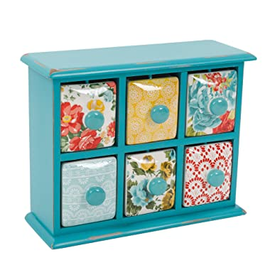 The Pioneer Woman (Gibson) Vintage Floral  Spice and Tea Box with Ceramic Drawers