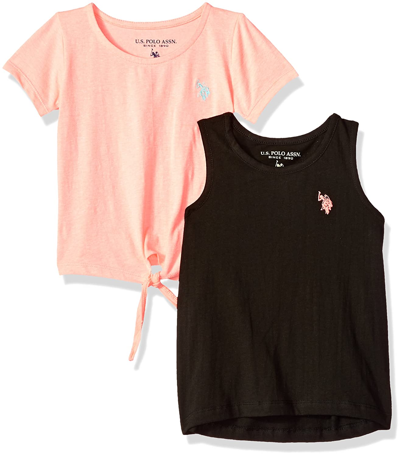 U.S. Polo Assn. Girls Toddler T Shirt Pack, Black Tank neon Coral ...