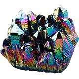 Shanxing Naturelle Cristal Irrégulier Pierre Couleur du Titane Enduits Grappe Géode Druse Spécimen Home Décoration,Arc en Ciel