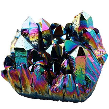 amazon com sunyik rainbow aura titanium coated crystal cluster