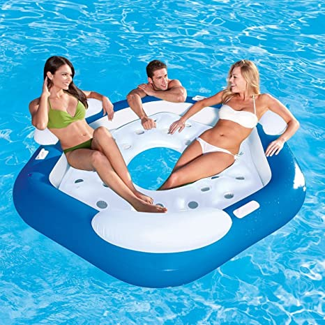 Tumbona hinchable flotante para hasta 3 personas isla flotador rato para piscina