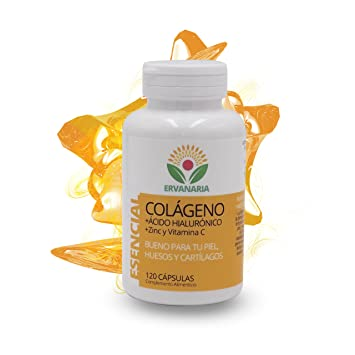 Colágeno Hidrolizado, Ácido Hialurónico, Zinc y Vitamina C. 120 Cápsulas. Mejora Elasticidad