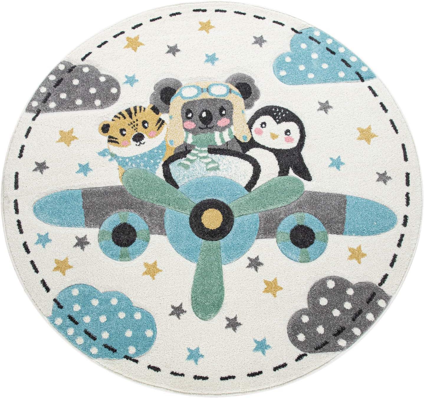 Gr/össe:120 cm Rund Paco Home Kinderteppich Rund Teppich Kinderzimmer Flugzeug Tiere Tiger Koala B/är Pinguin Farbe:Beige