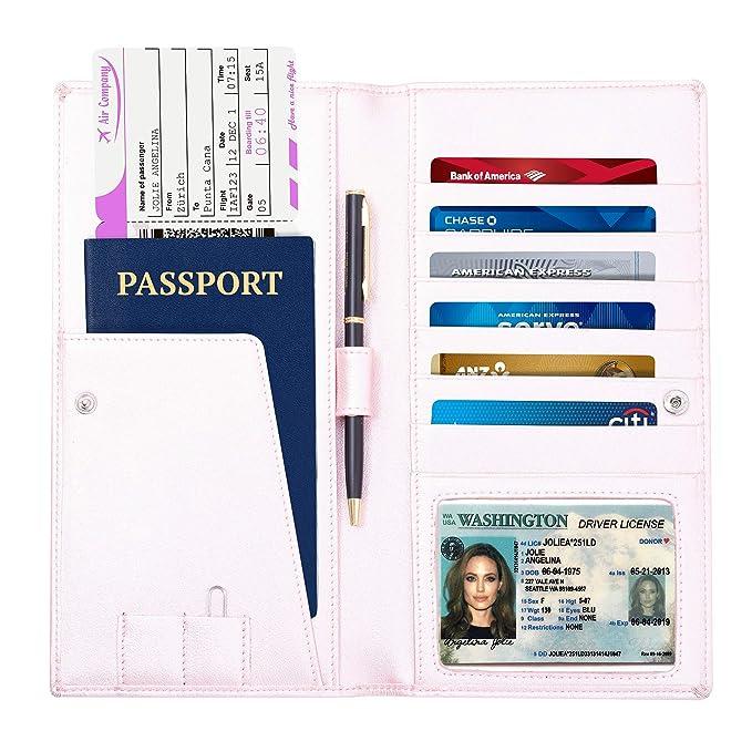 Cartera de viaje – titular del pasaporte – larga cartera de piel y de viaje documento
