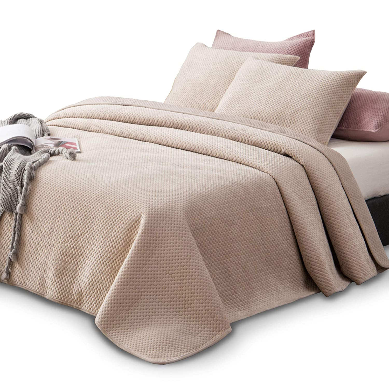KASENTEX Plush Poly-Velvet Lavish Design Quilt Set with Brushed Microfiber - Luxurious Bedding Soft & Warm Coverlet - Machine Washable Coverlet (Birch Sand, Queen + 2 Shams)