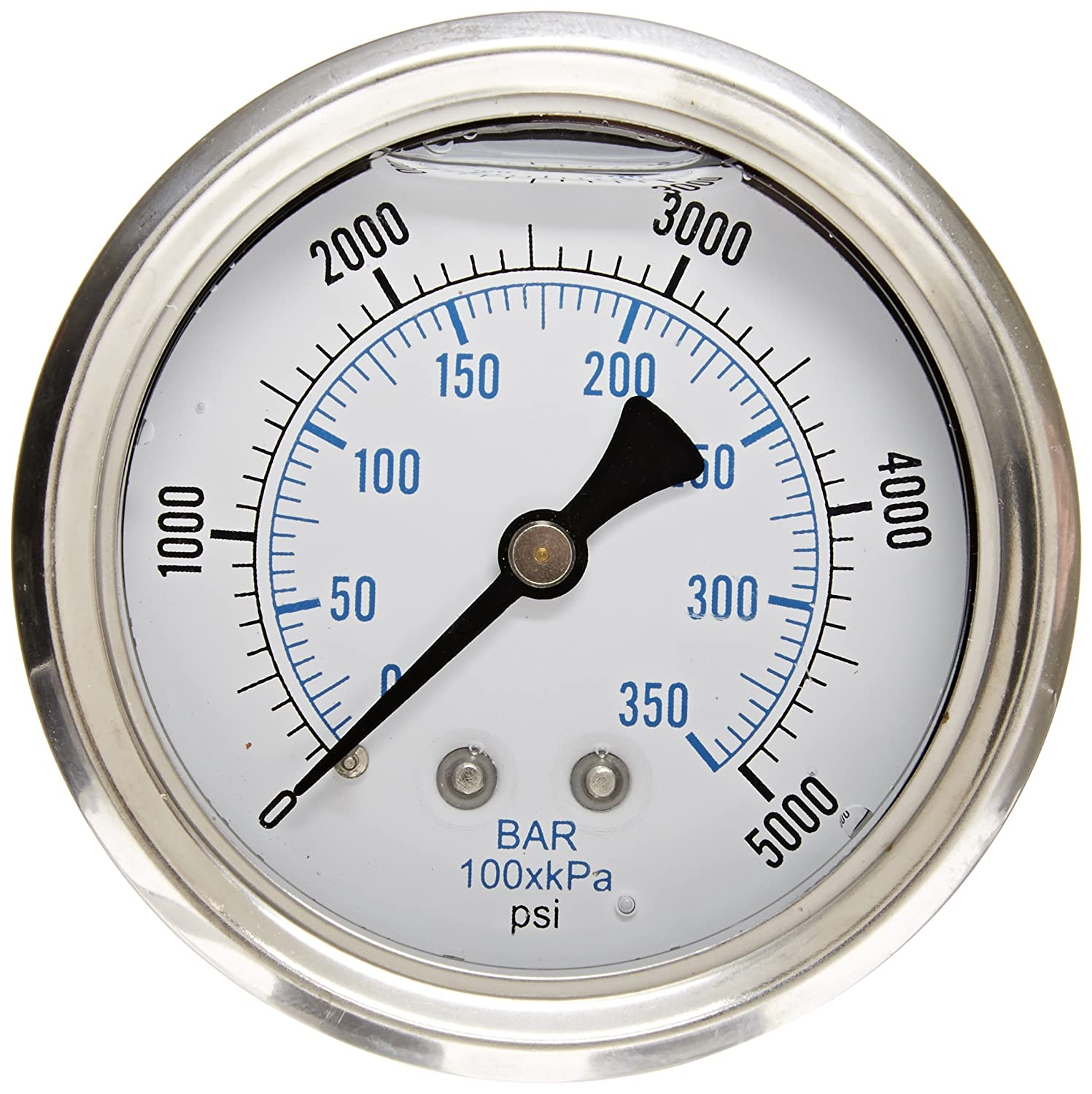 PIC Gauge PRO 202L 254R Glycerin Filled Industrial Center Back Mount Pressure Gauge with Stainless Steel Case Brass Internals Plastic Lens 2 1 2 Dial Size 1 4 Male NPT 0 5000 psi