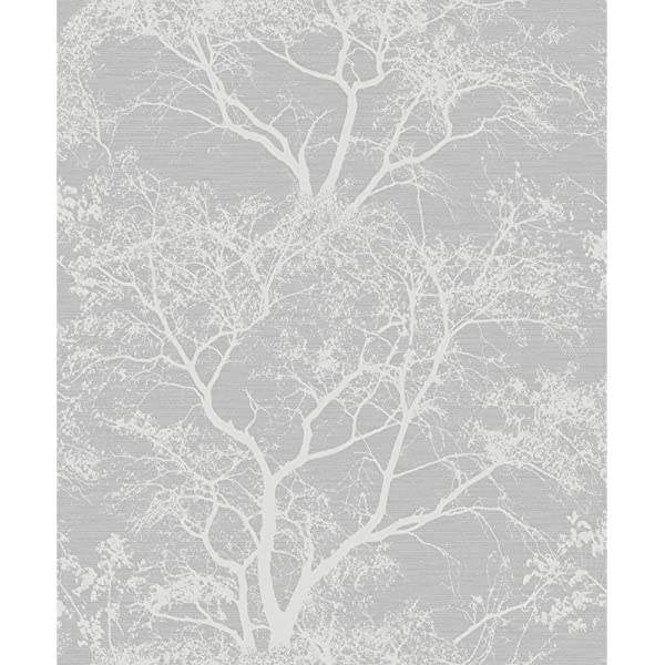 AS CREATION TREE BRANCHES WALLPAPER FEATURE WALL GREY SILVER WHITE NEW FREE P+P